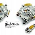 cukiernica srebrna z bursztynem,silverum - #łyżeczka #srebrna #cukiernica #wizytownik #nóż #prezent #jubiler #bursztyn #Srebro #użytkowe #biżuteria srebrna #biżuteria z bursztynem