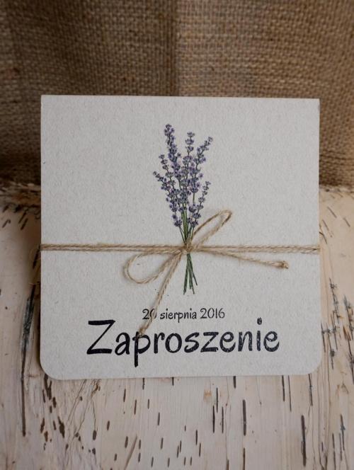 Ekologiczne rustykalne zaproszenia ślubne , format k4
